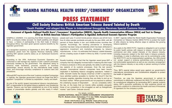 Tobacco control press release